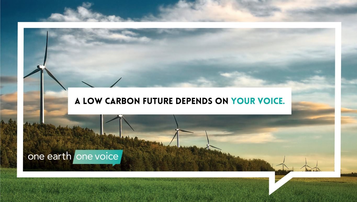 image of landscape with wind turbine text says a low carbon future depends on your voice