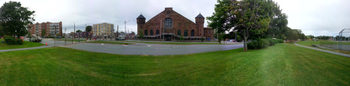 Panoramic view of the intersection next to the Halifax Common which will be converted into a roundabout